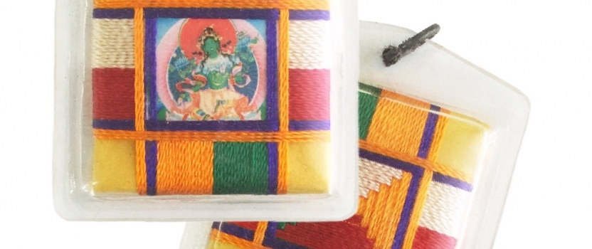 Tibetan Sungkhor Locket of Green Tara as the Tantric Female Buddha of Enlightened Activity